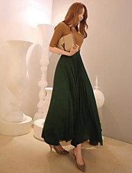 Women's Vintage Elegant Pleated High Waist Maxi Chiffon Skirt/Bottoms