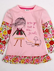 Girl's Pink Tee Cotton Winter / Spring / Fall