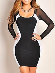 Женская Прозрачный Марля Тонкий Bodycon мини-платье
