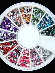 600pcs 12colours Schmetterlingsform Acryl Strass Rad Nagelkunstdekoration