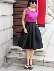 Femme Jupes,Trapèze Couleur Pleine Volants,Taille Haute Vintage Midi Décontracté / Quotidien Polyester fermeture Éclair Micro-élastique