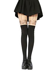 Cute Girl Black Polyester Flower Pattern Sweet Lolita Stockings