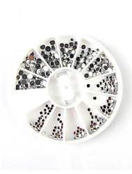 300pcs taille mixs cercle d'argent Décorations Nail Art