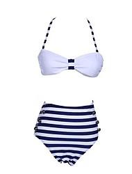 Women's Halter Bikinis , High Rise/Geometric Underwire Bra/Strapped Nylon/Spandex Blue