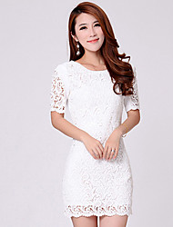 dini elegante vestido de encaje bodycon delgado manga media longitud (blanco)