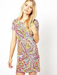 Col rond Floral Print de Z & G femmes robe à manches courtes