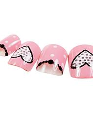24PCS Heart Design Pink Nail Art Tips With Glue