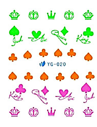 2PCS Card Design and Color Design Nail Art Fluorescent Watermark Stickers YG-020