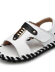 Marron / Blanc) -Cuir-Confort / Bout Ouvert / Sandales