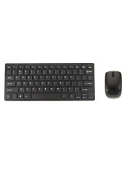 Chiclet 2.4Ghz Mini Wireless Keyboard lustrascarpe mouse ottico Codless Desktop Combo Kit - Nero