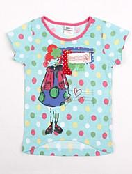 camiseta gola redonda menina dos desenhos animados da menina imprimir com globais bolinhas t shirt T dos miúdos impressão aleatória