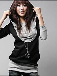 Fashion Queen-Langarmshirt Zweiteiler Kontrast Farbe Hemd