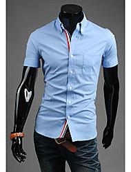 Tizeland Men's Lapel Neck Solid Color Short Sleeve T-Shirt