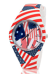 Children's USA Flag Style Colorful Silicone Band Quartz Wrist Watch