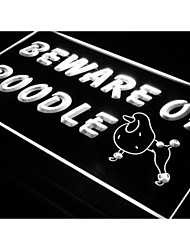 j467 méfiez-vous de caniche chien pet shop signe de néon