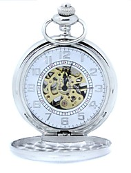 Men's Mechanical Gold Skeleton Silver Alloy Pocket Watch Cool Watch Unique Watch