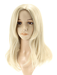 Capless Long Straight Silver Wigs Side Bang