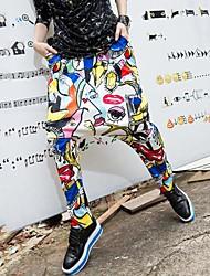 pantalones largos de impresión hip hop personalidad harén de qlzw®women