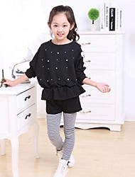Girl's Fashion Leisure Lace Beading Pattern Striped Pants Two Pieces Clothing Sets