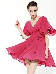 nicelady женщин Глубокий V шеи рябить платье