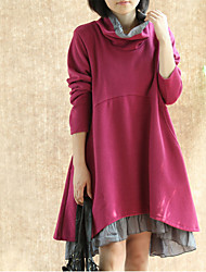 Aiduozi Fashion Long Sleeve Round Swing Long Sleeve Solid Color Dress_Fuchsia