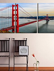 Personalized Canvas Print Bay Bridge Gallery 40 x 60cm  28 x 40cm Wrapped Art Set of 3