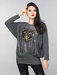 Women's Casual/Daily Simple Spring / Fall T-shirt,Print Crew Neck Long Sleeve Gray Cotton Medium