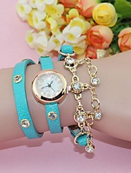Women's Fashion Crystal PU Band Chian Quartz Analog Bracelet Watch(Assorted Colors)