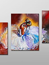 Hand Painted  Modern People Oil Painting  with Stretched Frame Set of  3