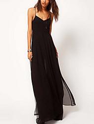 GGN женщин ремешок щель шифон длинное платье