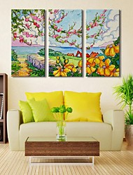 Personalized Canvas Print  Spring Landscape  30x 60cm   40x80cm  50x100cm Gallery Wrapped Art  Set of 3