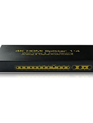 HDMI Splitter 1 Input 4 Output Amplifier Switch Box Hub 1x4 HDTV 1080p 3D,Real V1.4,4Kx2K,with Audio,EDID