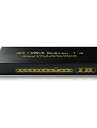 Splitter HDMI 1 entrée 4 sortie boîte de commutation de l'amplificateur moyeu 1x4 hdtv 1080p 3D, réel v1.4,4kx2k, avec audio, edid
