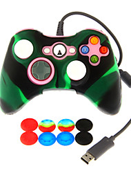Wired Dual Shock Controller with Silicone Skin Cover & 2pcs Mushroom Caps for Xbox 360