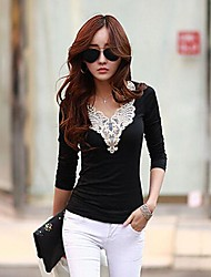 Women's  Slim  Long  Sleeve  Lace  T-Shirt