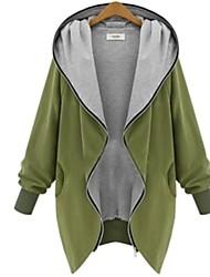 Women's V Neck Zipper Plus Size Hooded Cardigan Coat