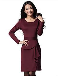 vestido de manga longa slim-encaixe das mulheres zifan