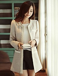 Women 's   Korean Round Collar Casual  Tweed  Long Coat