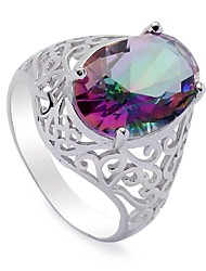 Fashion 925 Sterling Silver Rainbow Cubic Zirconia Ring