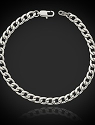 U7 Men's Link Cuban Chain Bracelet 316L Titanium Steel 5MM 8Inches (21CM)
