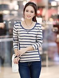 Women's Korean Hitz Cotton Quilt Striped T-Shirt Long Sleeve T-Shirt