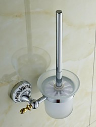 Ceramic Brass Chrome Finish Toilet Brush Holder