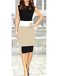 s&Spleißen Kontrastfarbe sleevless Kleid z Frauen