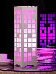 RGB Hollow Out Grid Shaped Wooden Table Lamp with Polymer Lampshade and Remote Controller(220-240V)