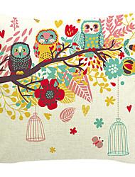 algodão família coruja / linho fronha decorativo