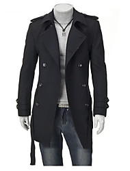Jeansian Men's Fashion Double Breasted Long Coat_8948