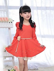 Girl's Orange / Pink Dress,Solid Polyester / Cotton Blend Spring / Fall