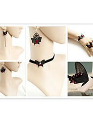 Hell Girl with Red Artificial Stone Gothic Lolita Accessories Set(Bracelet/Necklace/Bangle/Earring)