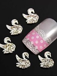10pcs 3d strass cygne bricolage accessoires en alliage nail art décoration
