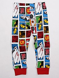 carro cartoon infantil impresso calças calças casuais impressão aleatória